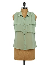 Green Frilled Georgette Shirt - Imu