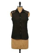 Black Sleeveless Georgette Shirt - Imu