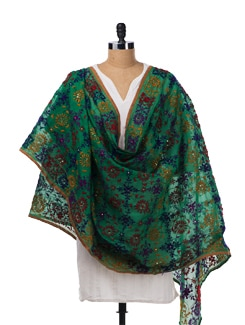 Green Hued Chanderi Silk Dupatta - Vayana