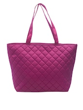 Quilted Pink Leatherette Handbag - SATCHEL Bags