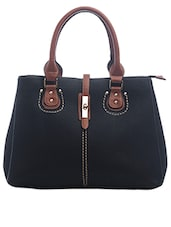 Black Decorative Stitch Handbag With Contrasting Handle - SATCHEL Bags