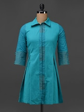 Blue Cotton Hand Block Printed Shirt Dress - 9rasa