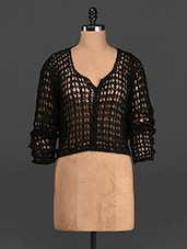 Black Front  Buttoned Crochet Top - Rediscoverfashions