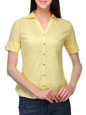 Shirt Collar Cotton Top - Stilestreet