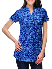 Blue Printed Cotton Top - Stilestreet
