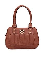 Pinstriped Solid Brown Leatherette Handbag - FOSTELO