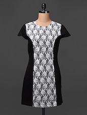 Black Lace Detailed Cotton Spandex Dress - Meiro