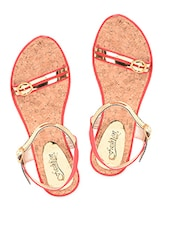 Red-golden Buckle Trim Leatherette Sandals - Fashion Mafia