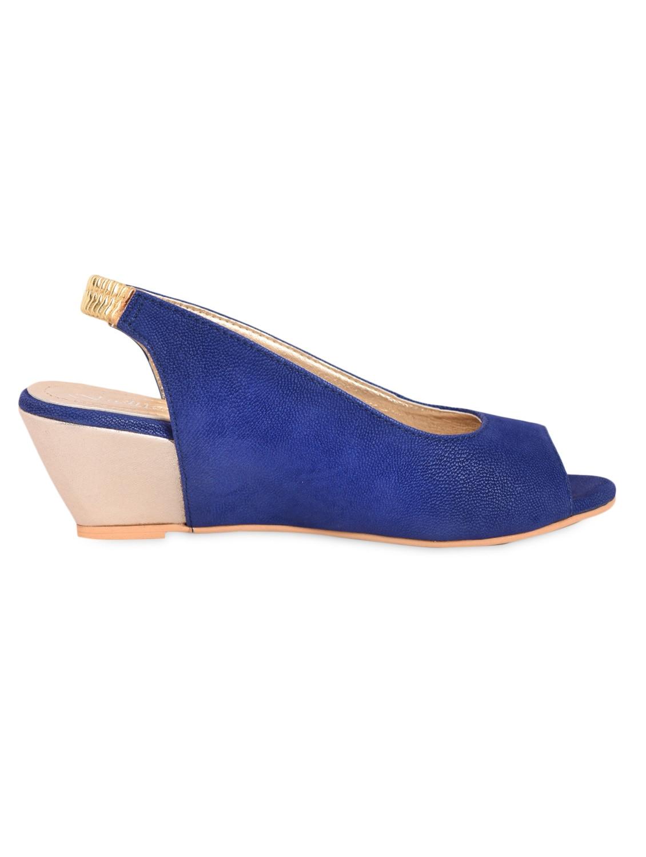 Royal Blue Peep-Toe Wedge Sling-Backs - Fashion Mafia