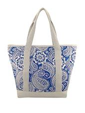 Blue & White Paisley Print Canvas Bag - ANGES BAGS