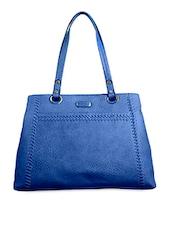 Blue Textured Faux Leather Handbag - BAGGO
