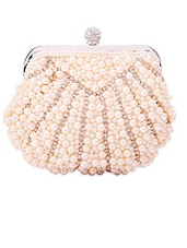 Faux Pearl Embellished Sling Clutch - Kleio