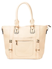 Cream Plain PU Handbag - ADISA