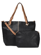 Black Contrast Handle PU Handbag - ADISA