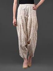 White  Gold Printed Cotton Dhoti - Rainbow Hues