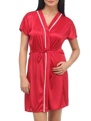 Red Plain Solid Satin Babydoll Nightwear Combo - 1058191 - Standard Image - 2