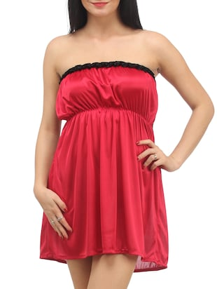Red Plain Solid Satin Babydoll Nightwear Combo - 1058191 - Standard Image - 5