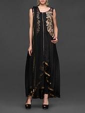 Embroidered Black Asymmetrical Anarkali Suit Set - Abhilasha And Abhishek