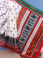 Tribal Printed Bhagalpur Silk Saree - ROOP KASHISH