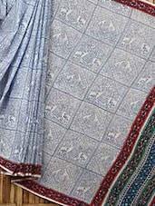 Traditional Block Print Cotton Saree - Fab Rajasthan