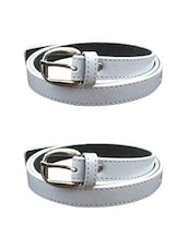 White Leatherette Combos Belt - By