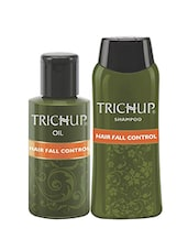 Trichup Hair Fall Control Kit (Hair Fall Control Oil (200ml X 2), Hair Fall Control Shampoo (200ml)) - By