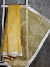 Gota Border Floral Jacquard Net Saree - JBT