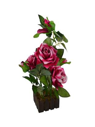 Real Look Artificial Rose Flower Plant Prototype With Medium Size Wood Pot