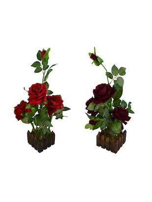 Real Look Artificial (Set of 2) Rose Flower Plant Prototype With Medium Size Wood Pot