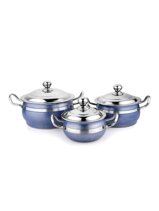 Cook And Serve Casserole Blue Set of 3 Pcs
