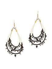 Black Metal Alloy & Beads Earrings - Art Mannia
