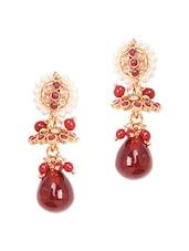 Gold Red Metal Alloy & Beads Bajubandh - Art Mannia