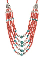 Turquoise & Coral Metal Alloy & Beads Neckpieces - Art Mannia