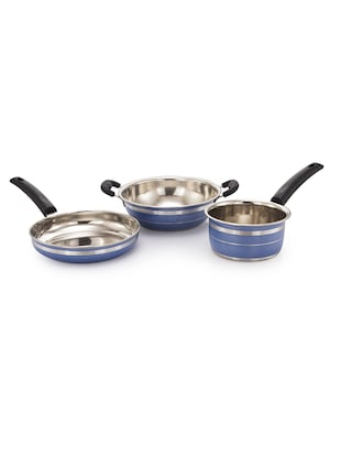 Induction Lpg Compatible Kadai Frypan And Saucepan Blue Set of 3 Pcs