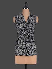 Black Polka Dots Printed Gathered Top - Eavan