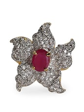 Ruby Stone American Diamond Ring - Crunchy Fashion