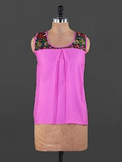 Pink Top With Printed Yoke - Xniva