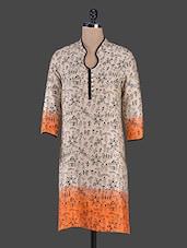 Beige Tribal Printed Cotton Kurta - Swanky