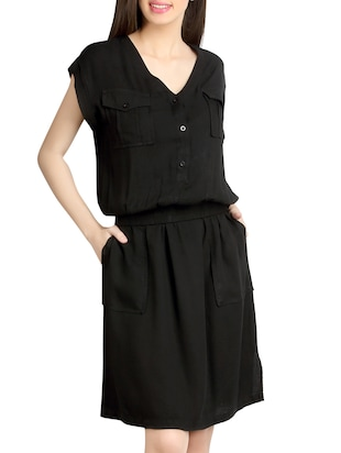 black rayon blouson dress