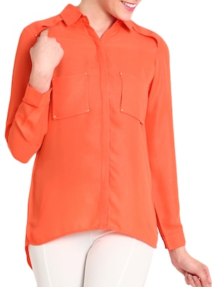 orange georgette shirt