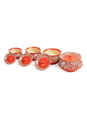 Orange Mughal Floral Handi With Lid (Set Of 4) - Cultural Concepts