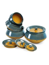 Gold And Grey Ceramic Handi Set (Set Of 8) - Cultural Concepts