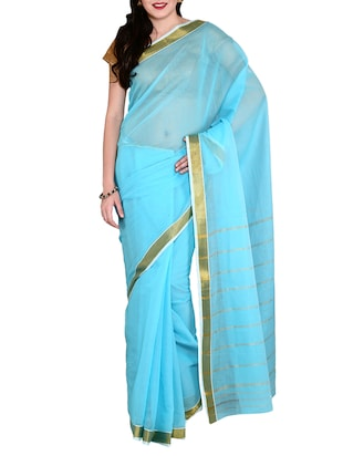 blue mysore cotton saree