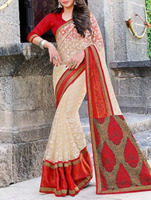 off white, red brasso saree