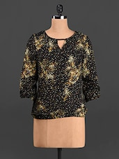 Quarter Sleeves Printed Polyester Top - Trend 18
