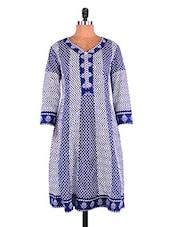 Blue And White Printed Cotton Kurti - Jashn