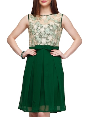 green georgette aline dress