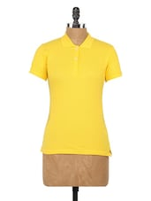 Solid Yellow Cotton Knit Polo T-shirt - Globus