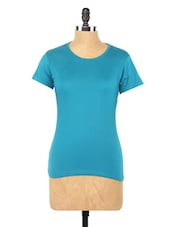 Plain Blue Round Neck Knit Top - Globus