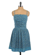 Blue Printed Camisole Neck Cotton Dress - Globus